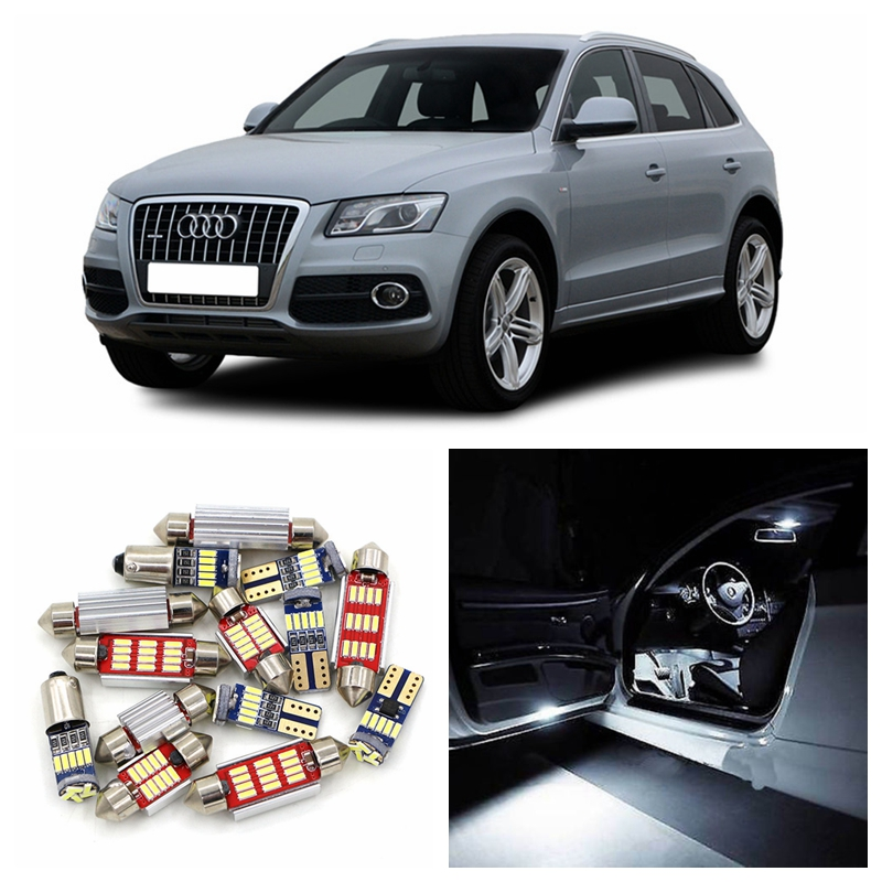 21pcs Super Bright Canbus Car White LED Light Bulbs Interior Package Kit For 2009-2012 Audi Q5 Map Dome Door Trunk Lamp No Error 16pcs canbus car white led light bulbs interior package kit for 2011 2012 2013 2014 2015 volvo s60 map dome trunk door lamp