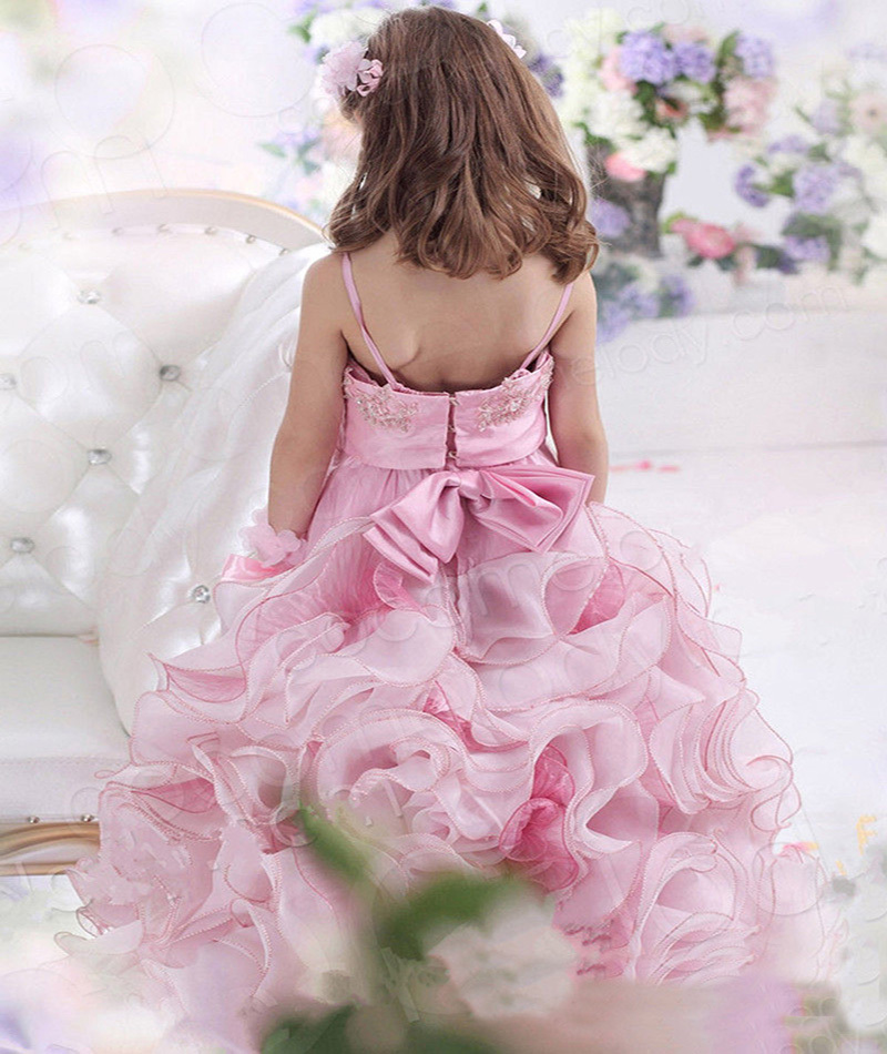 Princesa Pink Vestido de Encaje Correa de Espagueti Apliques de ...