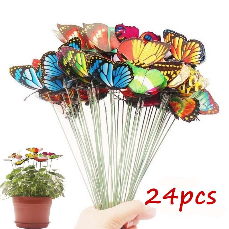 Outdoor-Decor Stakes Flower Planter Colorful Whimsical Garden Yard Butterfly Set-Of-24pcs