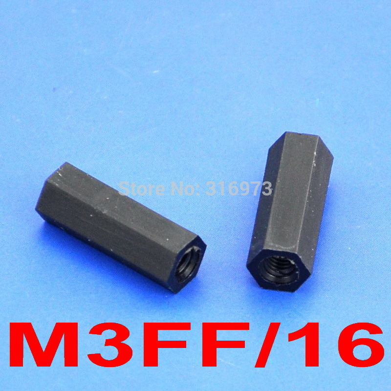 (1000 pcslot ) 16mm0.63 Black Nylon M3 Threaded Hex Female-Female Standoff Spacer.