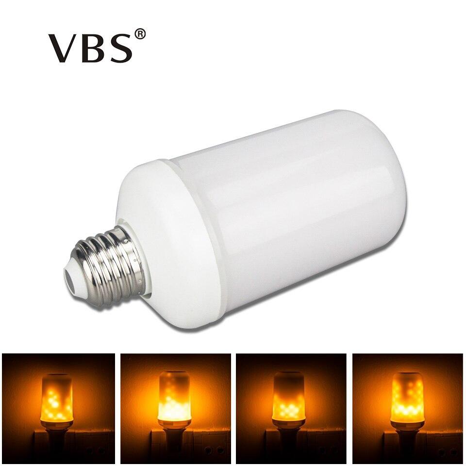 VBS E27 E26 2835 LED Flame Effect Fire Light Bulbs Led Fire Effect Indoor Lighting Christmas Decorations For Home AC85-265V