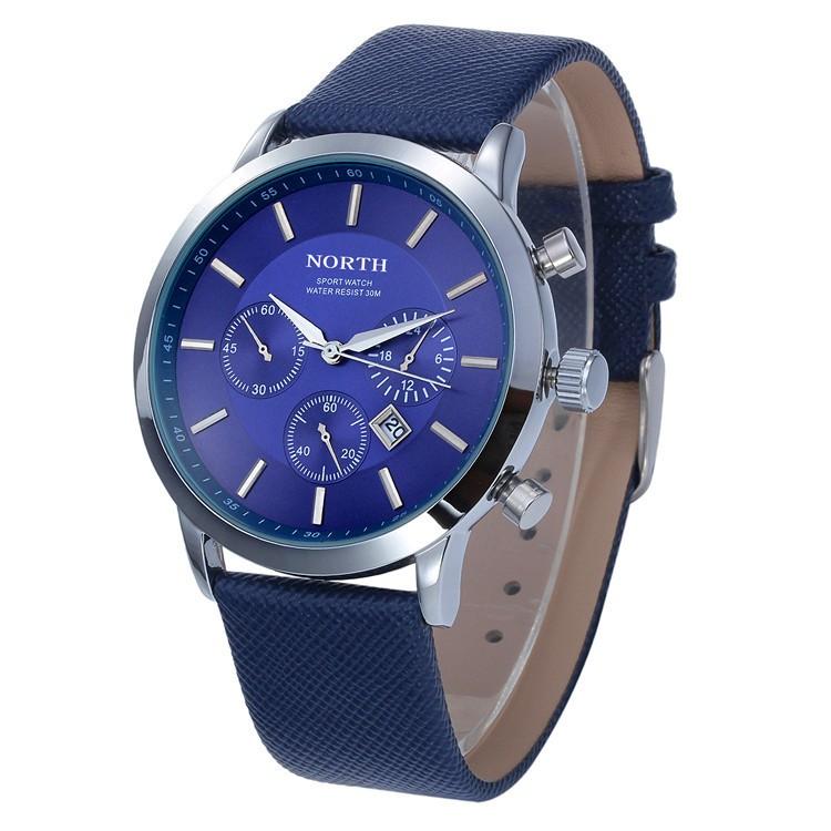 North Quartz Watch Blue Dial Sport Leather Strap
