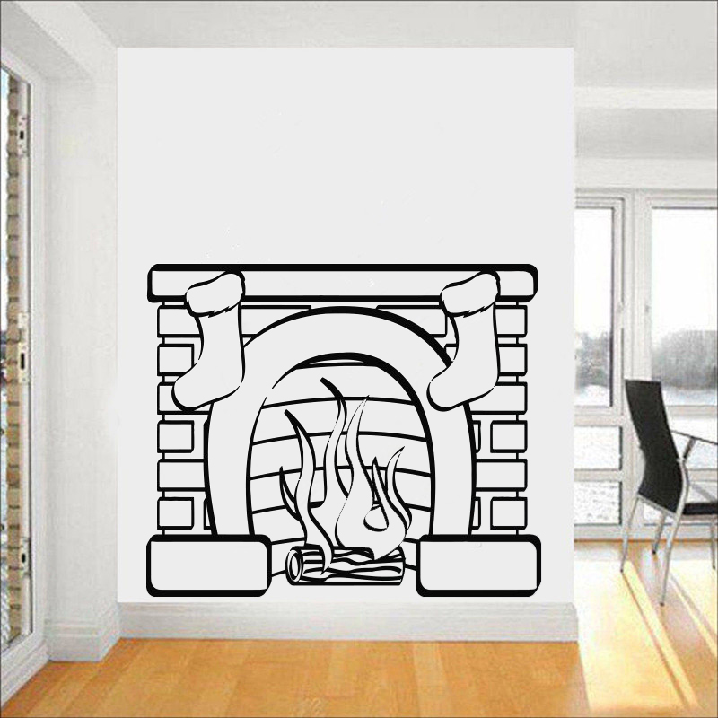 Hot Christmas Stocking Wall Sticker Vinyl Decals Stove Fashion Mural Home Wall Decor Fireplace Socks Living Room-Christmas LC070 ...