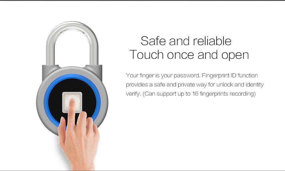 Купить с кэшбэком Fingerprint padlock smart Bluetooth electronic lock warehouse door security door lock outdoor padlock luggage lock