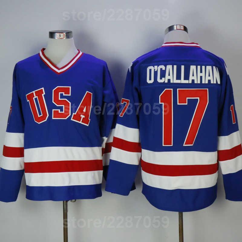 Ediwallen Throwback 17 Jack Ocallahan Jersey Blue White Men Sale 1980 USA Hockey  Jerseys All Stitched b6fcb9920