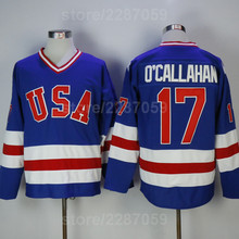 68b981635 Ediwallen Throwback 17 Jack Ocallahan Jersey Blue White Men Sale 1980 USA  Hockey Jerseys All Stitched Sports Free Shipping