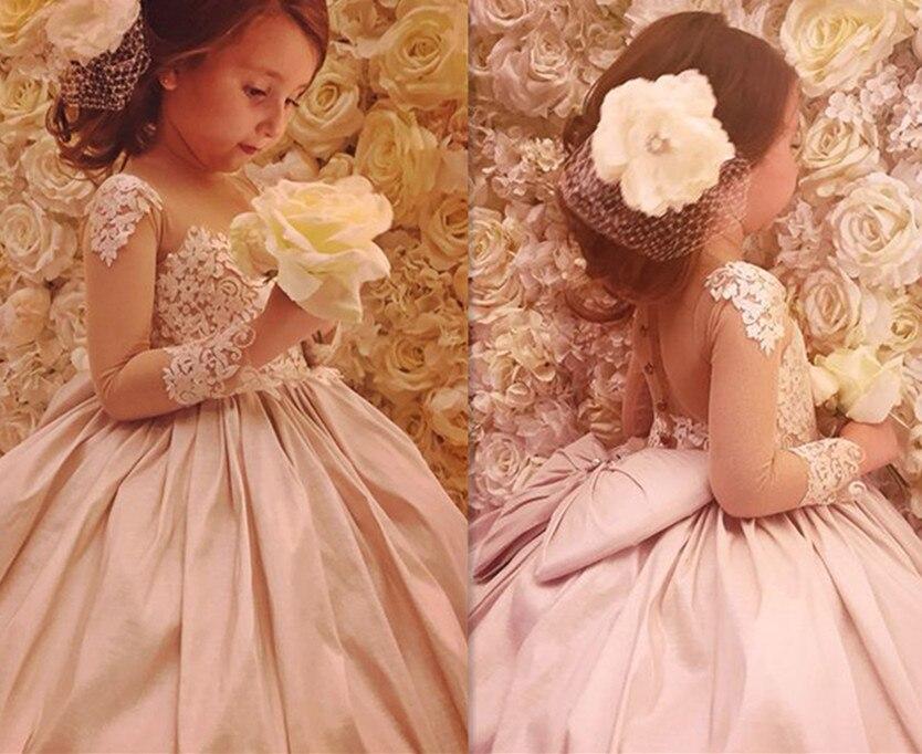 Jolie robe de première Communion rose avec nœud robes de demoiselle d'honneur fille robe de concours Vestido de primera comunion