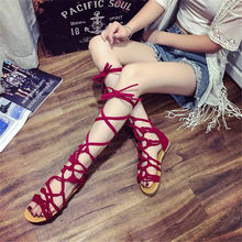 In the summer of 2019, the new flat heel Boots, women's cross bands with the Roman style of pure color peep-toe Boots(China)