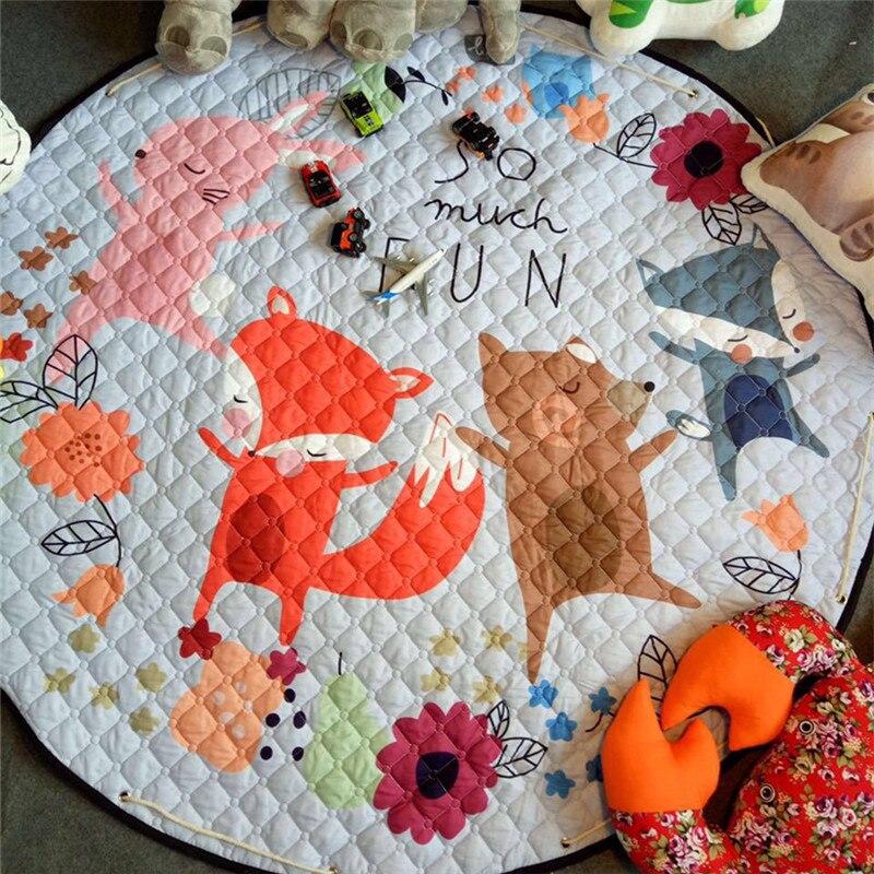 Décor à la maison enfants chambre tapis rond 150*150cm renard bébé tapis de jeu Patchwork pique-nique couverture ANITSLIP tapetes para casa sala enfant tapis