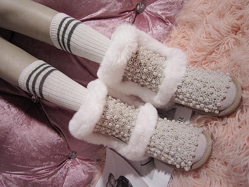 Perle In Nuove Piatto Pelliccia Perline Pelle Coniglio Scarpe Polpaccio Delle Neve Di Bianco Stivali Donne Calde Vera A F8 Metà ROqx1Pdq