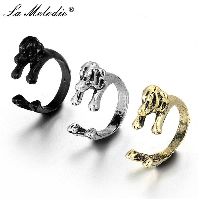 Aggressiv Neue Punk Retro Gold Schwarz Farbe Basset Hound & Bloodhound Tier Ringe Für Frauen Männer Finger Ringe Vintage Bulldog Ring Bague Femme