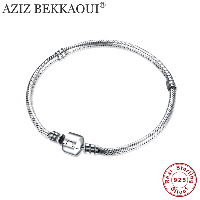 100% 925 Sterling Silver Bracelets & Bangles European Original Snake Chain Bracelet for Beads Charms 17-20CM Diy Screw Bracelet