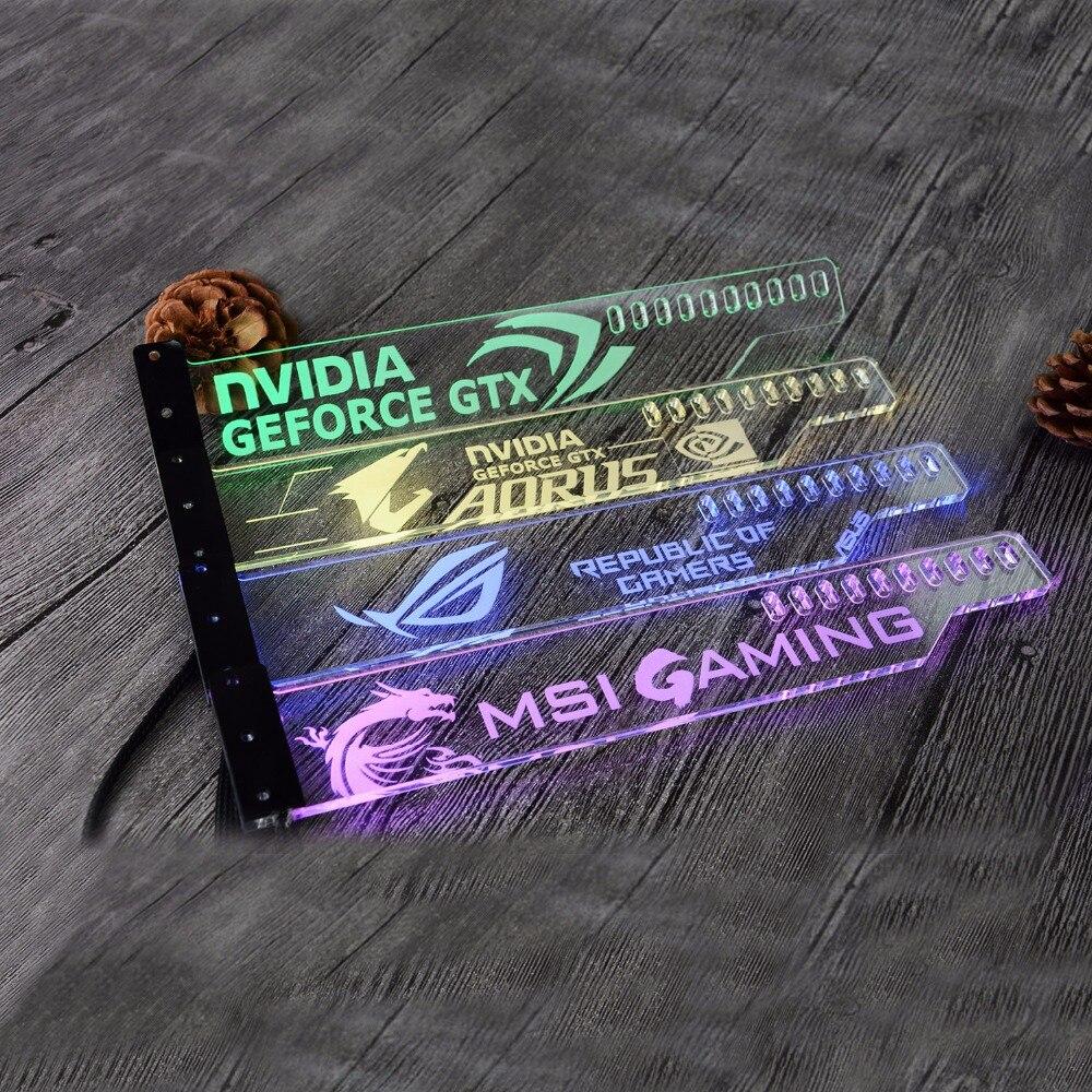 Acrílico soporte de uso para Brace tarjeta GPU tamaño 280*45*6mm uso para arreglar la tarjeta de vídeo de 5050 RGB luz conectar AURA 4PIN 5050 RGB Header