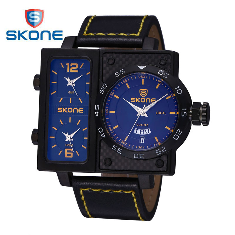 SKONE 3 Dials Leather Sport Watch Men Top Brand Luxury Mens Quartz Wrist Watch Calendar Watches Shocker Clock Relogio Masculino for triumph tiger 800 tiger 1050 tiger explorer 1200 easy pull clutch cable system