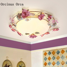 Korean LED Tieyi Flower ceiling lamp Living Room Childrens Room European Romantic Rural Circular Glass ceiling lamp