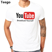 e33736f65dbec New Design Youtube T Shirt Broadcast Yourself Printed Cotton Fashion Top  Tee Summer Short Sleeve Men s