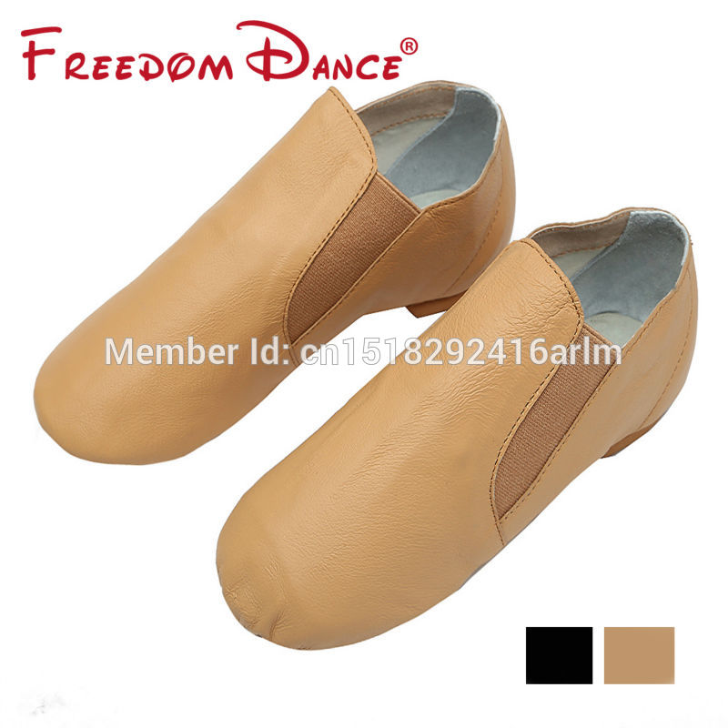 Pig Leather Twin Stretch Gores Split-on Jazz Dance Shoes Ballet Practice Shoes Kongfu Shoes For Teenagers And Adult