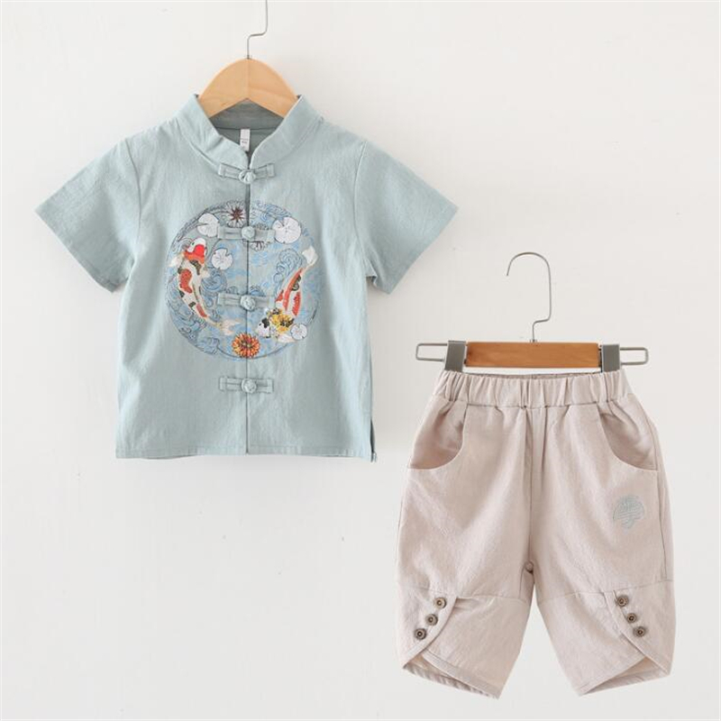 Summer Baby Kids Boy Short Sleeve Suit T-shirt Tops+Pants Outfits Clothes