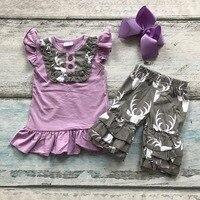 Sommer baumwolle baby mädchen boutique kleidung lila grau deer shorts outfit neue design kinder tragen mit passenden bogen set