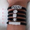 Marca nova Moda AAA cubic zirconia Baguette monica base de pulseira e bracelete de Couro para Mulheres e Homens
