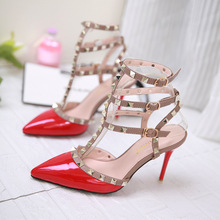 Free shipping new spring fashion wind in Europe and America rivets fine with high-heeled shoes pointed shoes