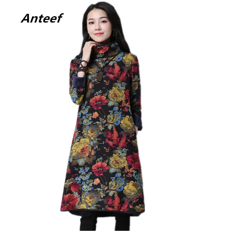 Long Sleeve Cotton Linen Plus Size Vintage Floral Women Casual Loose Midi Autumn Winter Dress Vestidos Clothes 2019 Dresses