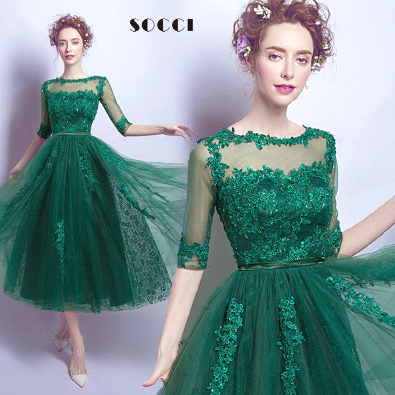 Aliexpress Com Buy Elegant Green Lace Backless Half