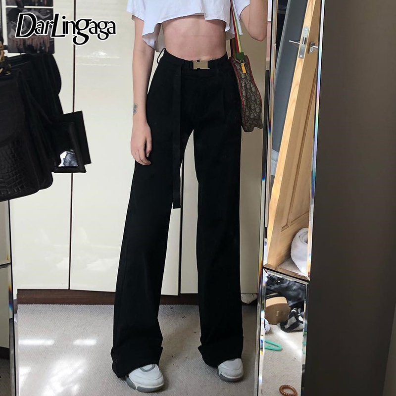 Darlingaga Fashion Straight Pure Trousers Women High Waist Pants Streetwear Loose Women's Pants Baggy Ladies Elegant Bottom 2019