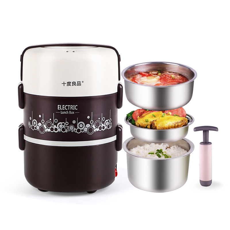 Electric Lunchbox Rice Cooker Three Layers Heating Vacuum Plug In Insulation Steamed Rice 1.8L 1-2 People цена и фото