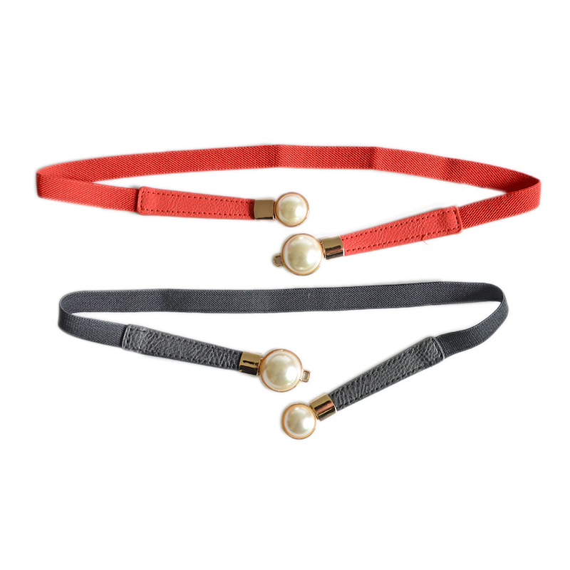 Fashion Thin PU Leather Belt Simulated Pearl Elastic Waist Belts Women Dress Skirt Decoration Fashion Girles Gifts