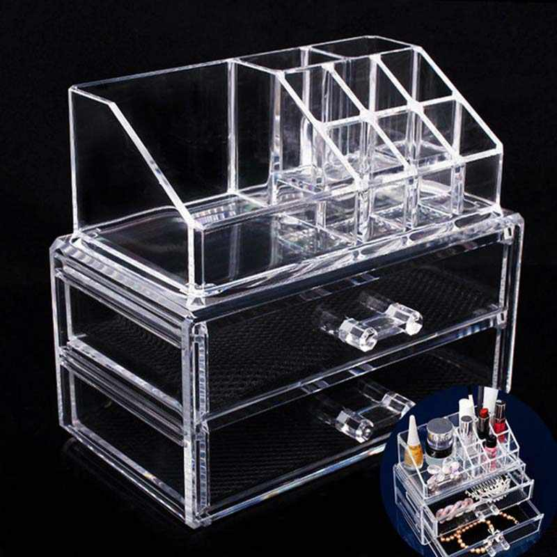 2018 NEW Cosmetic Organizer 2-layer Drawers Acrilico Desk Jewelry Organizer Acrylic Makeup Organizer Arrangement Storage Box