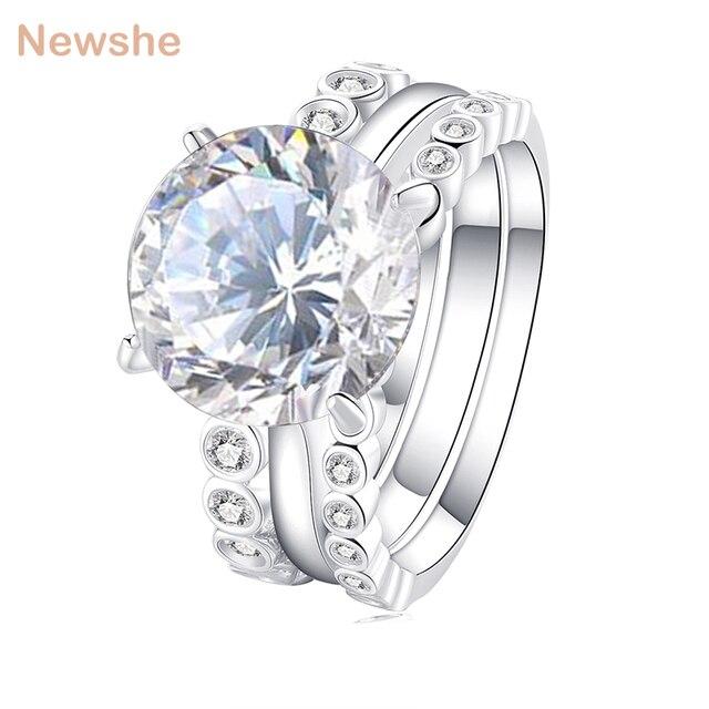 Newshe 3 Pcs Wedding Ring Set 5 Ct Big Grand Round Cut Aaa Grade Cz