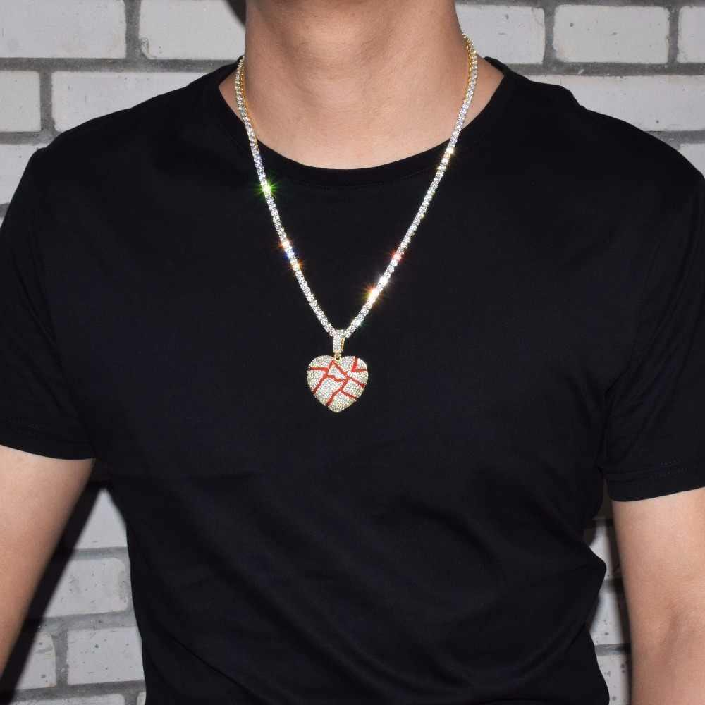 Złamane serce wisiorek naszyjnik z 4mm łańcuch tenisowy złoty srebrny kolor Cubic cyrkon męska kobiety Hip hop biżuteria prezent