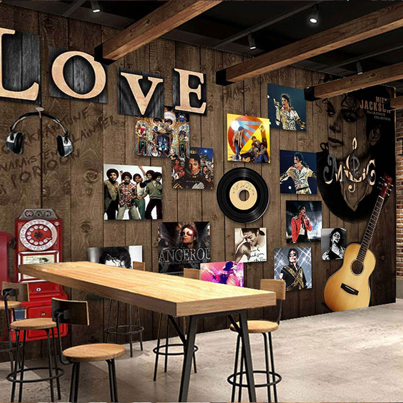 Custom Wall Mural English Letters Flocking Non Woven Home