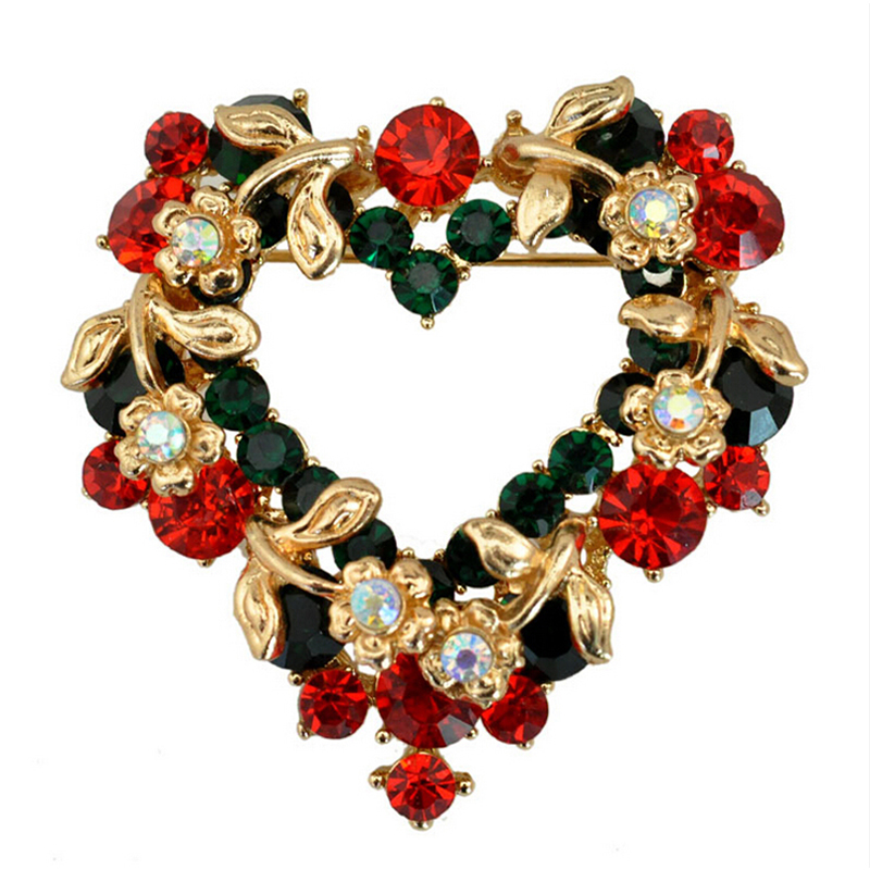 Fashion Women Christmas wreath Brooches Safety Pin Brooch Jewelry Vintage Broches For Ladies Christmas Gifts XZ017