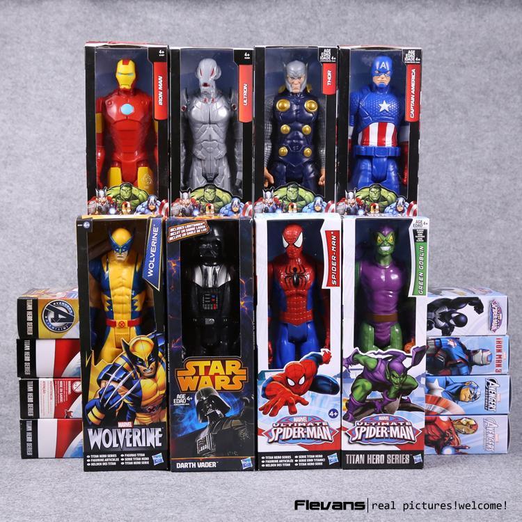 "Titan Hero Series Avengers <font><b>Superheroes</b></font> PVC Action <font><b>Figures</b></font> Toys 12"" 30cm Iron Man Spiderman Thor <font><b>Captain</b></font> <font><b>America</b></font> HRFG451"