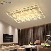 Modern Rectangle Remote Control Living Room Bedroom Modern Led Ceiling Lights Luminarias Para Sala Dimming Led