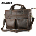 100% Genuine Leather Briefcases Crazy Horse Vintage Men Bag Cowhide Leather Messenger Bags Shoulder Bag Top Quality Laptop Bags