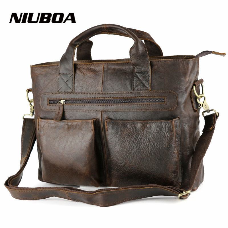 NIUBOA 100% Genuine Leather Handbags Briefcases Crazy Horse Vintage Men Bags Cowhide Skin Shoulder Bag Top Quality Laptop Bags цена