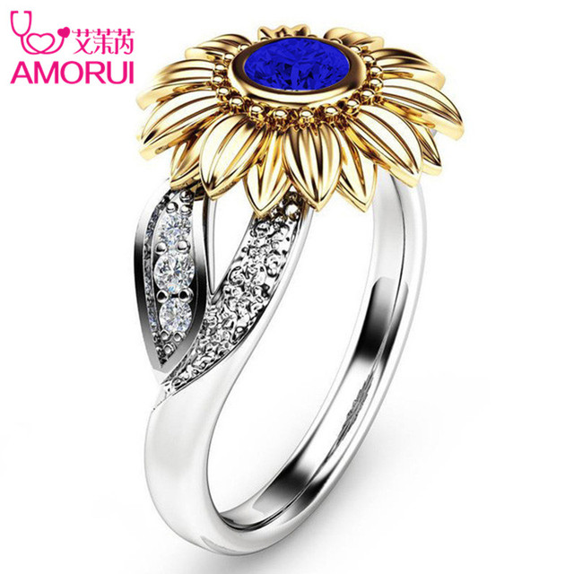 Silver Color Cute Gold Sunflower Crystal Wedding Ring 4