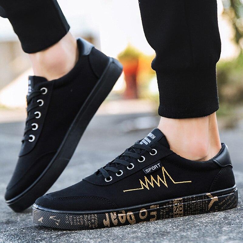 7f3da7ac9f4 Zapatos De Primavera black Nuevo Gold Casuales Alpargatas Moda Slip Lona La  black Ca Black Deporte Hombres ...