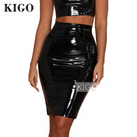 KIGO Women Party Sexy Bandage Skirt Faux Leather Skirt Slim High Waist Midi Pencil Skirt Bodycon