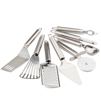 New Stainless Steel 8Pcs Set Cooking Tools Set Pizza Knife Drain Shovel Spatula Cooking Utensils Set