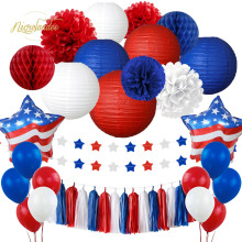 NICROLANDEE 40 pcs/set 2019 American Independence Day US USA Paper Lanterns Flowers Pompom Balloons New Party Decoration