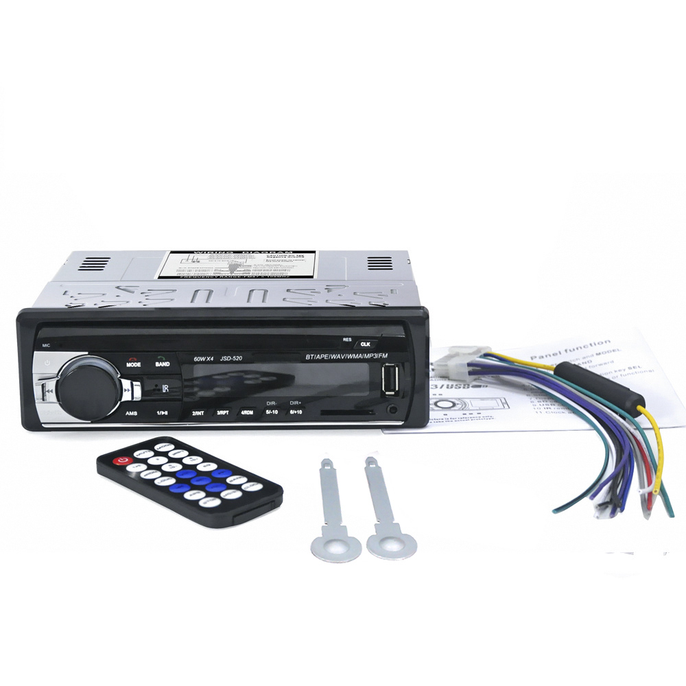 Car Radio 12V Bluetooth V2.0 JSD520 Stereo In-dash 1 Din FM Aux Input Receiver SD USB MP3 MMC WMA ISO Connector XNC image