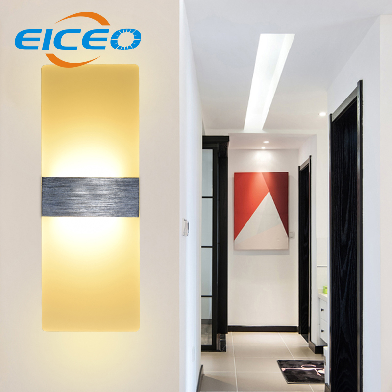 (EICEO) Acrylic Modern Minimalist LED Wall Lamp Light Hotel Furniture Bedroom Bedside Mirror Front Lamps Creative Sconce AC220V
