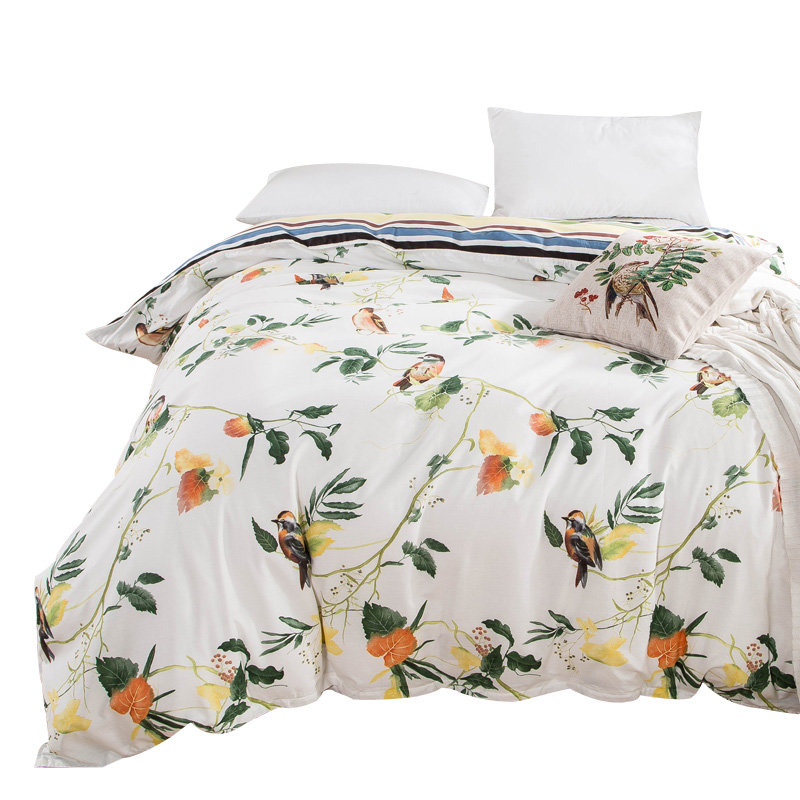 1 Piece Duvet Cover with Zipper 100% Cotton Quilt or Comforter or Blanket Case Pastoral Printing ...