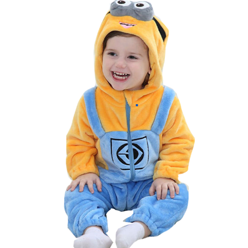 Minions Baby Clothes Romper Infant Costume 2017 New Spring Hooded Flannel Toddler Romper Infant Jumpsuit Clothing Baby Costume puseky 2017 infant romper baby boys girls jumpsuit newborn bebe clothing hooded toddler baby clothes cute panda romper costumes