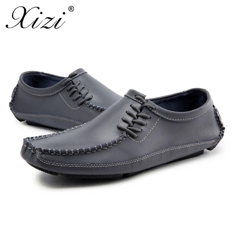 Luxo cinza deslizamento Moda Casuais Sapatos Calçados marrom Xizi Couro Masculina branco Não Dos Preto Homens Tamanho De Italiano Grande Marca q00URwvZ