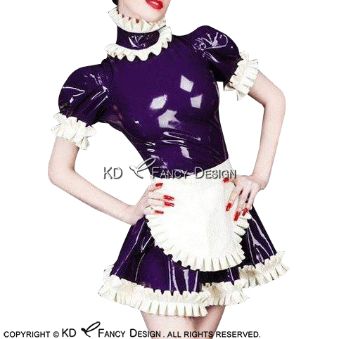 Purple With White French Maid Sexy Latex Dress Rubber Uniform With Apron Back Zipper Gown Playsuit Bodycon LYQ-0118
